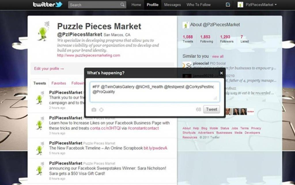 Screen shot of a Puzzle Pieces Marketing Twitter Tweet about #FF Follow Friday