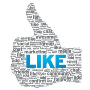 """A graphic of a thumbs up composed of different size words in grey that relate to social media, with """"LIKE"""" in capital, blue letters in the middle."""