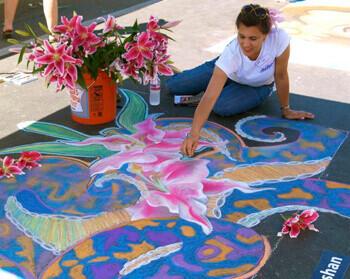 Sidewalk art. Vista Strawberry Festival