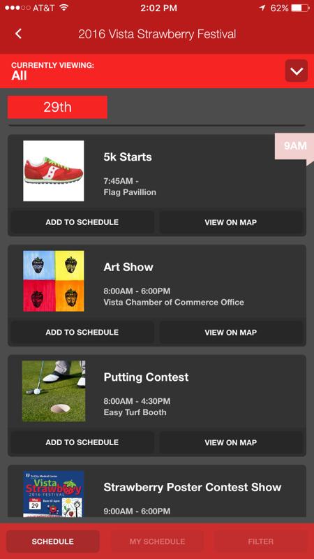 Vista Strawberry Festival App Schedule