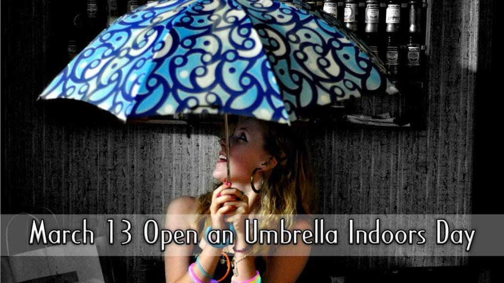 national open an umbrella indoors day