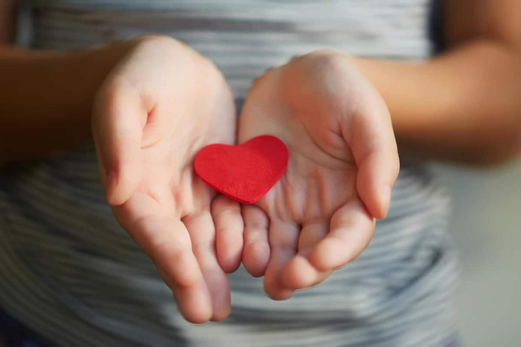Closeup of a child's hands cupping a red paper heart, symbolizing the pledge of Toothbrushery.com to donate toothbrushes to charitable organizations for every subscription bought.