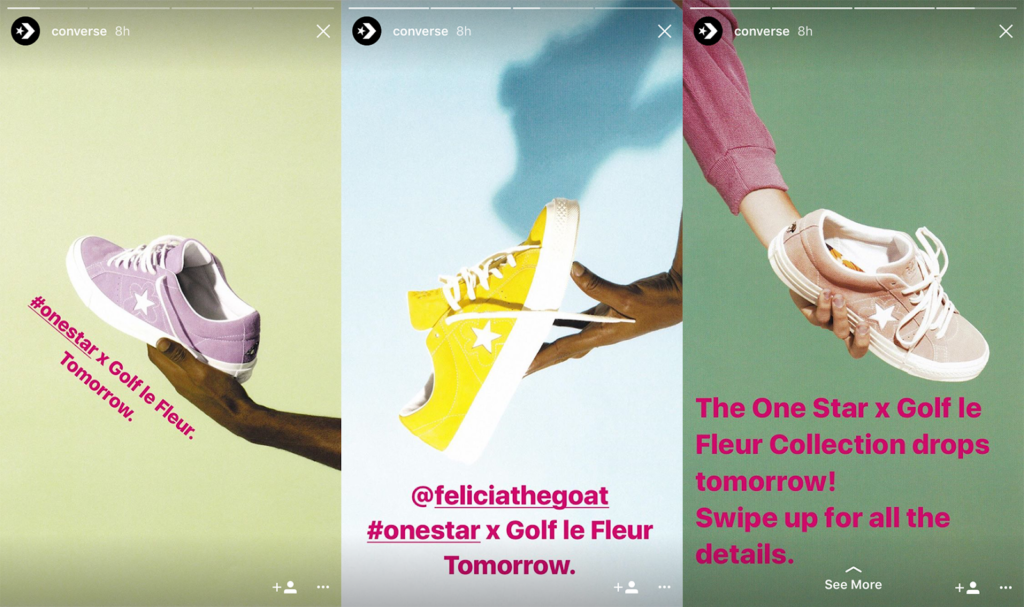 Three screenshots of an Instagram Stories Ad for Converse One Star shoes, meant as an example of how to make a social media ad on Instagram. The shoes are pastel purple suede, yellow suede and tan suede from the Golf le Fleur Collection.